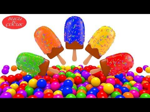 Oyuncak Dondurmaları ve Renkli Topları İzle Renkleri Öğren