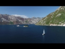 Bird's eye view of Our Lady of the Rock in Kotor Bay