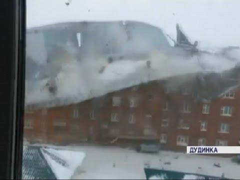 В Дудинке ветром снесло крышу (Новости 21.03.16)