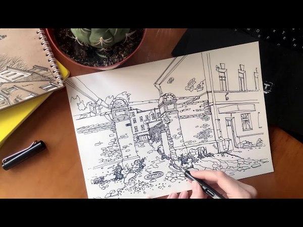 RUINS OF TULA | timelapse sketching | перо LAMY SAFARI