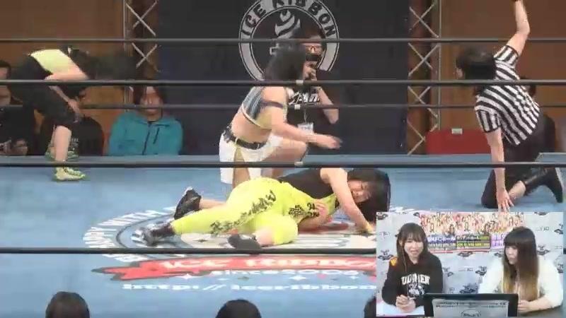 Asahi, Ibuki Hoshi, Tsukushi vs. Kyuri, Maruko Nagasaki, Mio Momono (Ice Ribbon - Ryogoku KFC Ribbon 2018)