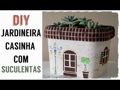 JARDINEIRA CASINHA COM SUCULENTAS - DIY Artesanato e Decoração do Compartilhando Arte RECEBIDOS