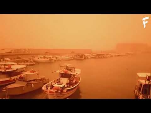 Вынос пыли и песка из Сахары на Крит, Греция | Sahara dust in Crete, Greece