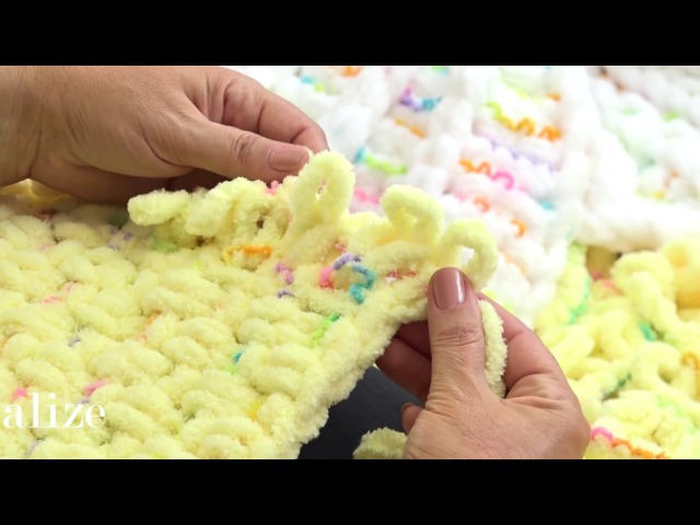 Alize Puffy Color ile Puset Battaniyesi Yapımı Making Stroller Blanket with Alize Puffy Color