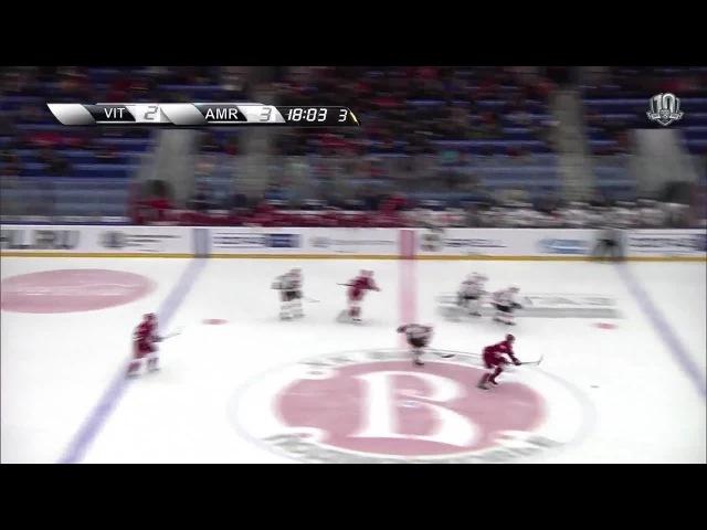Моменты из матчей КХЛ сезона 16/17 • Гол. 3:3. Александр Романов (Витязь) оказался самым расторопным на добивании 27.11