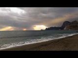 Крым, Судак. Набережная и пляж вечером в январе.