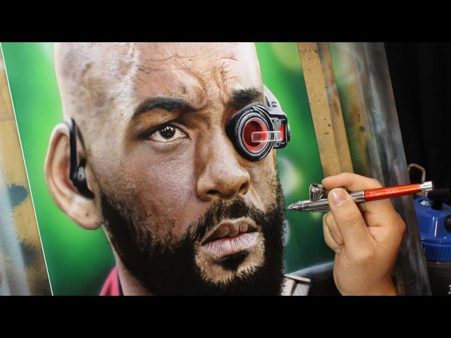 Painting Will Smith as Deadshot - Airbrush Will Smith (Time lapse)