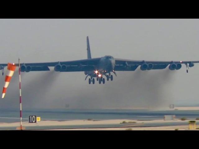 USAF B-52, C-17, E-8C and KC-135 Takeoffs At Al Udeid Air Base, Qatar