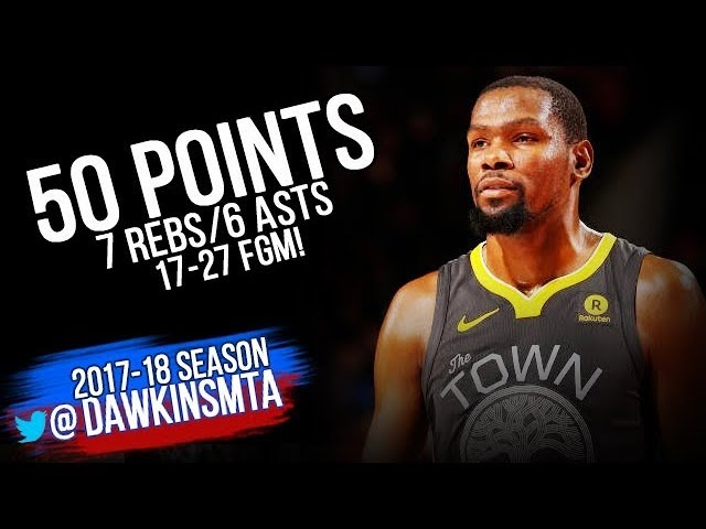 Kevin Durant Full Highlights 2018.02.14 at Blazers - 50 Pts, 6 Asts, 17-27 FGM! | FreeDawkins