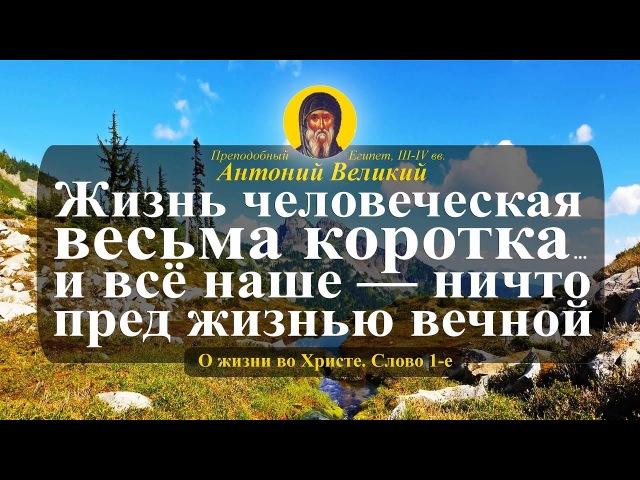 Прп. Антоний Великий: «Жизнь человеческая весьма коротка... и всё наше — ничто пред жизнию вечною»