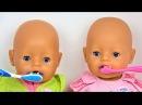 Куклы Беби Борн чистят зубы Утренние Рутины Полина КАК МАМА Видео для детей