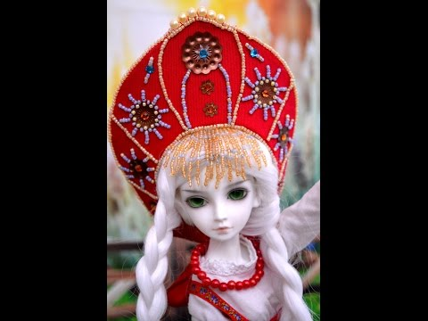 Making Russian style tiara crown - Kokoshnik for MSD BJD doll