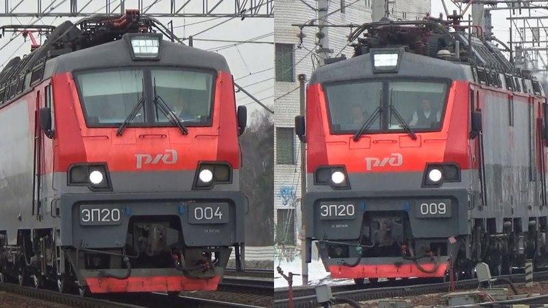 Два скоростных поезда Стриж с электровозами ЭП20 009 и ЭП20 004