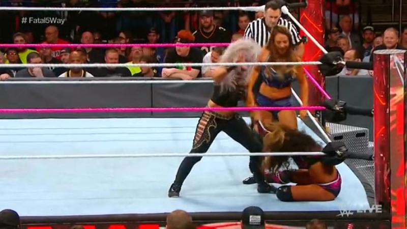 WWE.RAW.2017.10.09. Emma vs. Alicia Fox and Bayley and Dana Brooke and Sasha Banks