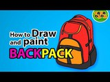 How to draw and paint SCHOOL BAG - BACK PACK STEP BY STEP TADA-DADA Art Club