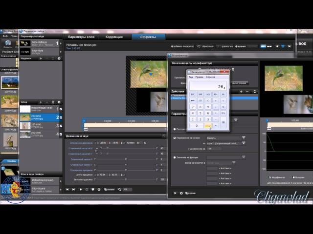 Расчёт центров вращения для создания связанного движения слоёв в программе ProShow Producer