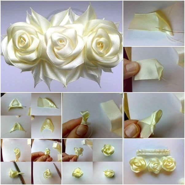 Крупные цветы из атласной ленты своими руками