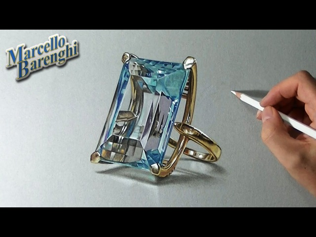 048 How to draw an aquamarine ring