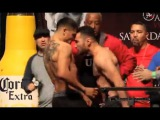 VICIOUS VICTOR ORTIZ CLASHES HEADS WITH MANUEL PEREZ AT EXPLOSIVE &amp HEATED WEIGH IN