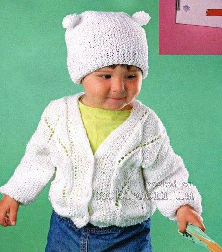 Вязаная спицами белая кофточка и шапочка для малыша…. (3 фото) - картинка