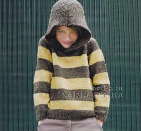 детский полосатый джемпер с капюшоном (2 фото) - картинка