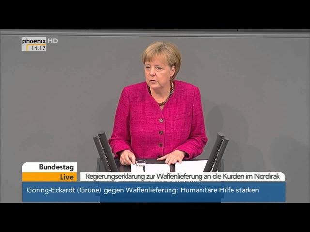 Bundestag: Angela Merkel zu Waffenlieferungen an den Nordirak am 01.09.2014
