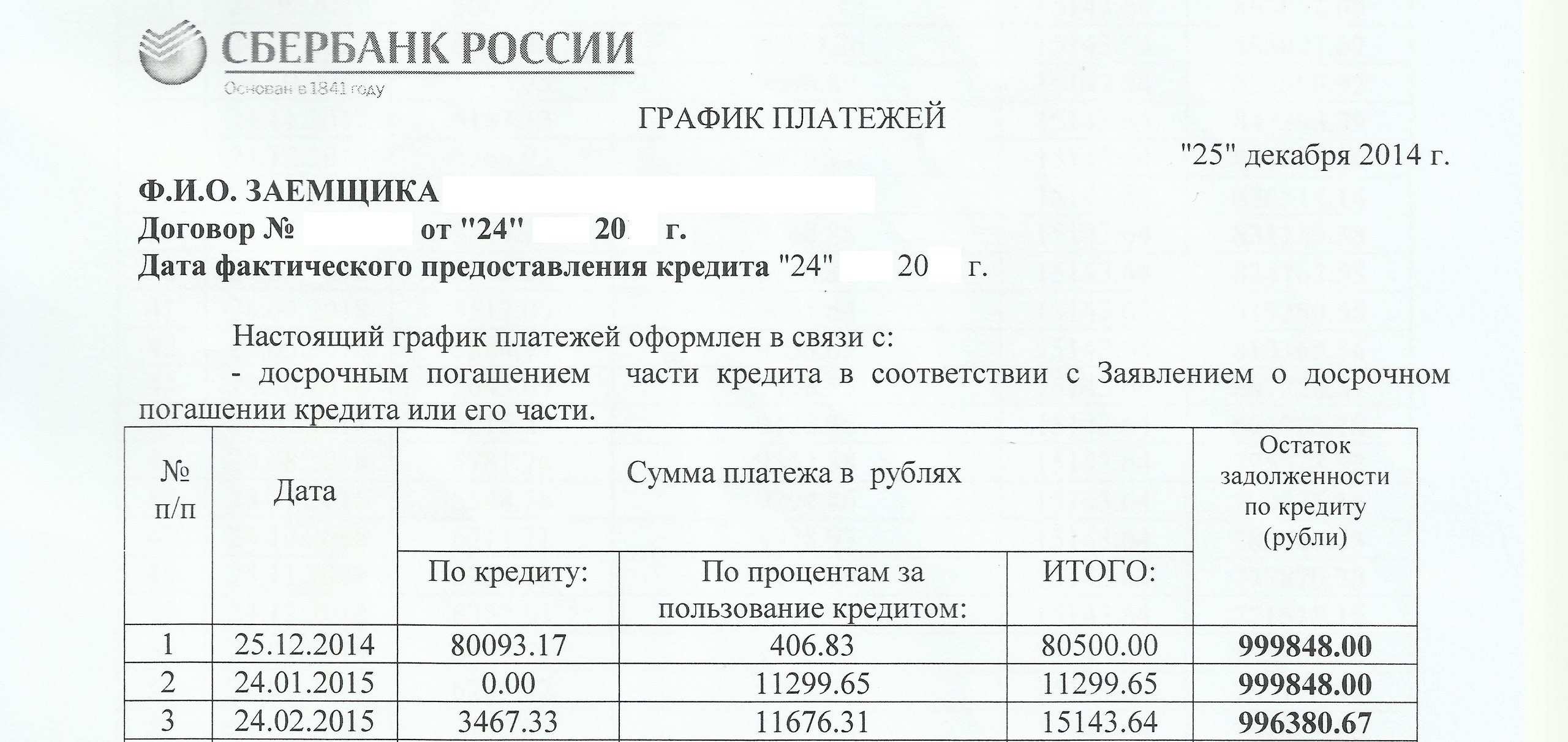 график платежей кооператив