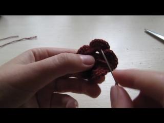 Вязание крючком Урок №8! Учимся вязать цветочек _) + Учимся прятать ниточку!