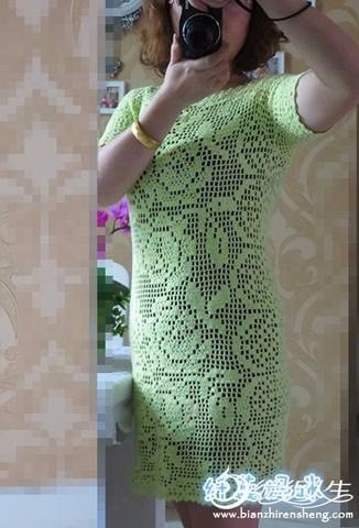 Вязание крючком платья филейной вязкой
