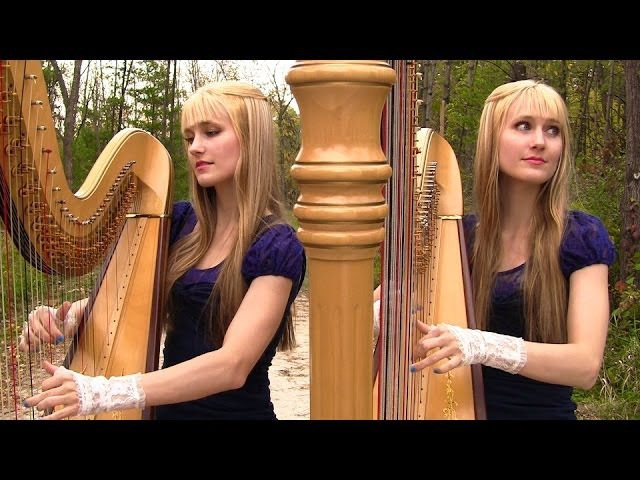 GREENSLEEVES What Child Is This Harp Twins Camille and Kennerly