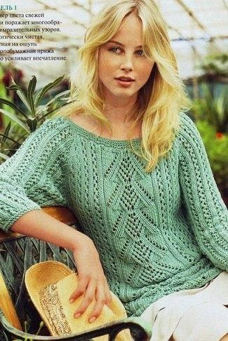 Пуловер спицами (3 фото) - картинка