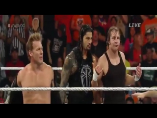 Dean ambrose with roman reigns and chris jericho vs the wyatt family (night of champions 2015)
