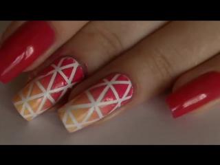Маникюр с лентой для дизайна. Градиент -- Gradien nail art design