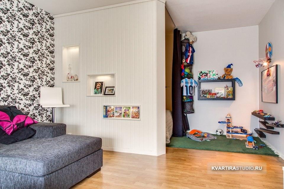 Перегородки для зонирования гостиной-спальни.
