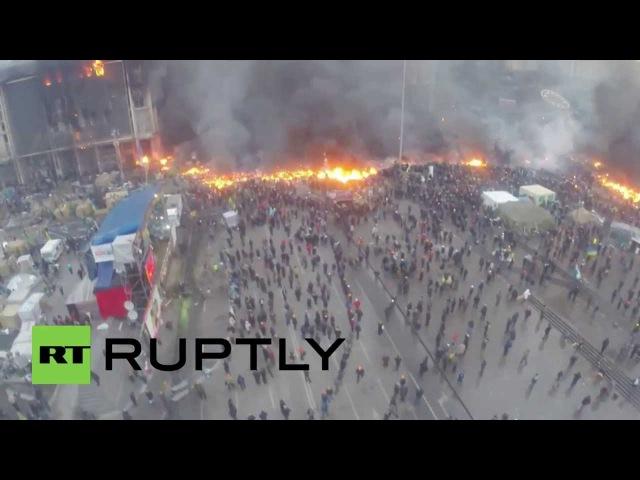 19 февраля 2014. Киев. Kiev drone footage: Aerial view of burning Maidan amid Ukranian riots
