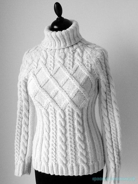Женский пуловер спицами (10 фото) - картинка