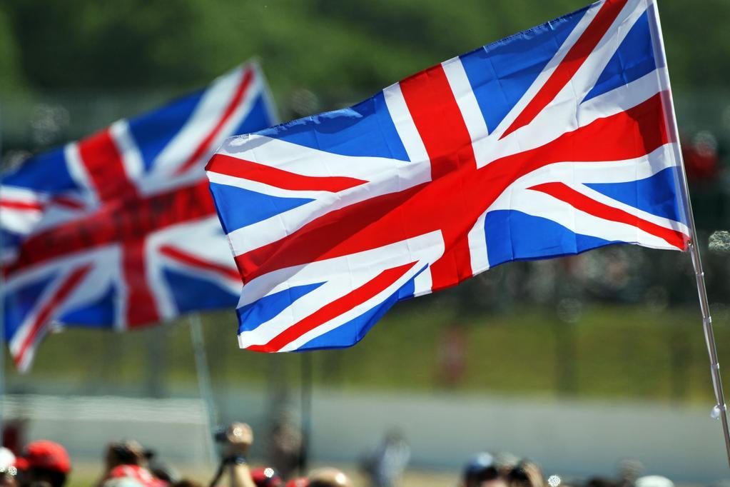Флаги Великобритании на автодроме Сильверстоун