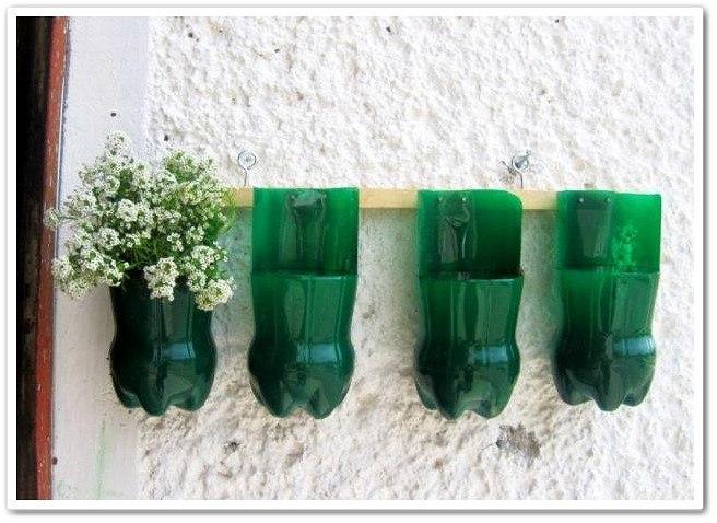 Горшки под цветы из пластиковых бутылок своими руками