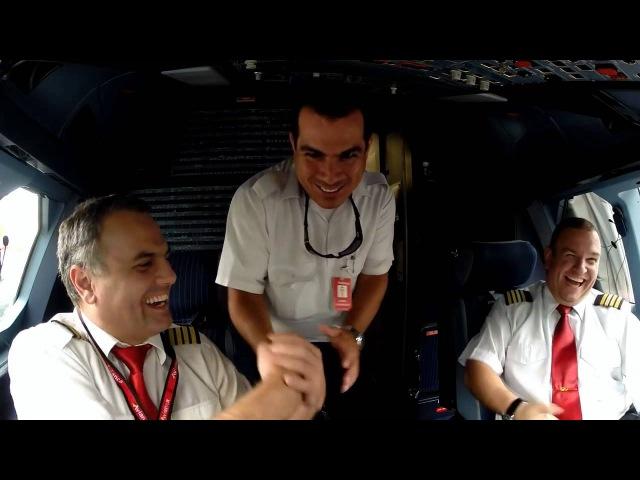 Потрясающее видео из кабины пилотов