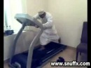 Arab guy working out on treadmill Funny!