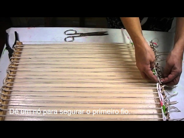 Artesanato Tapete de tear de madeira - Craft Mat wooden loom - Artesanía Mat telar de madera