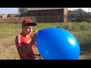 popping a big blue balloon - like a pro!