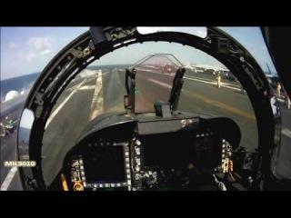 Взлет с катапульты на авианосце / Вид из кабины пилота истребителя F/A-18 Хорнет
