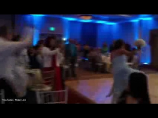 Is this the worst wedding dance ever groom knocks out bride with a kick to the head as he performs