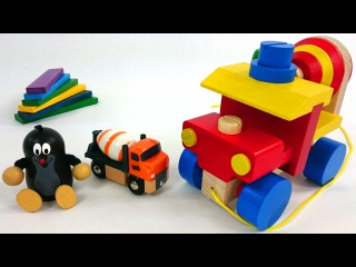 Kid's Toys: Cement Mixer Construction Vehicles & Moley the Mole's Wooden toys