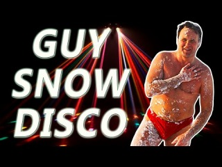 Guy Naked on the Snow Dancing