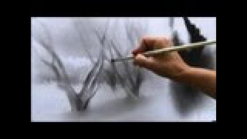КАК нарисовать ПЕЙЗАЖ. Сухая кисть