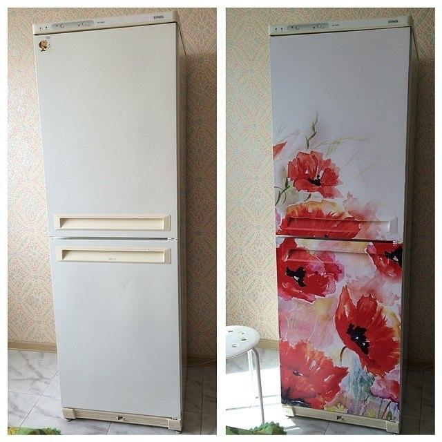 наклейка на холодильник маки фото, реставрация холодильника своими руками фото