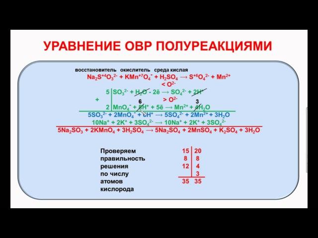 № 92. Неорганическая химия. Тема 11. ОВР. Часть 5. Уравнивание ОВР полуреакциями