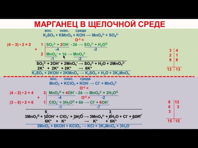 № 107. Неорганическая химия. Тема 11. ОВР. Часть 20. Задачи на ОВР. Марганец в щелочной среде